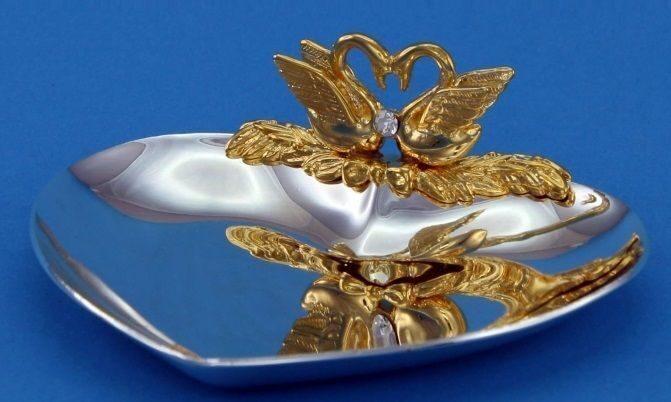 """Crystal Union Блюдце для колец """"Лебеди"""" SA-3020/SGSW"""
